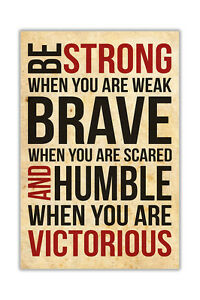 Strong and Victorious Quote Poster Prints Wall Decor Art Pictures