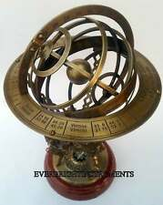 "Antique brass armillary 18"" nautical lion sphere globe wooden base with compass"