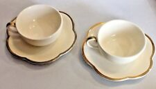 set 2 Made In Italy Italian coffee Tea Cup & Scalloped Saucer Este CE Gold Trim