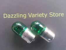2 X Green Ba15s 207 12v 5w Auto bombilla lámpara de coche interiores laterales número Placa Personalizada