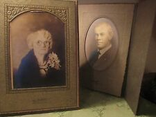 Antique Cabinet Photos, Lady w/ Great Corsage, Fur Collar, Man in Suit, West TX
