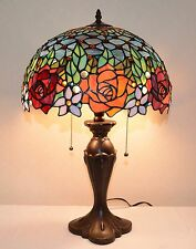 "16""W Rose Flower Jeweled Stained Glass Tiffany Style Table Desk Lamp, Zinc Base"