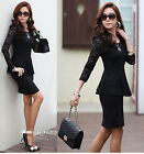 New Fashion Women Long Sleeve Casul Lace Peplum Slim Blouse Shirt Tops SML