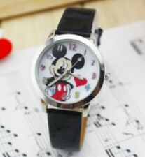 Kids Girls Mickey Mouse Black Wrist Watch Analogue Leather Strap UK Slim Dial WH