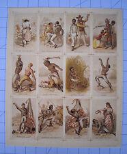 12 Negro Slave Trading Cards 11 x 13 Uncut Sheet African American Black Swamp