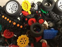 LEGO Bulk lot 1/2 lb pound WHEELS Tires Axles Cars Vehicle Lot Parts Pieces