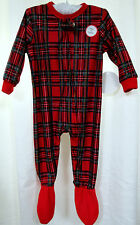 Holiday Plaid Flannel One Piece Footie 24 Mo Red Tartan Brinkley Pajamas Sleeper