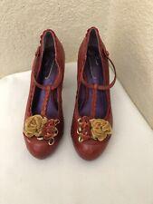Poetic License London Calling Red Leather Floral Block Heel Pump Women Sz 37/6.5