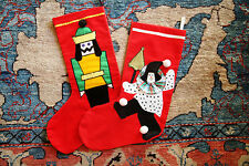 Vintage Handmade Christmas Holiday Stocking Hanging Artisan Clown Nutcracker ~2~