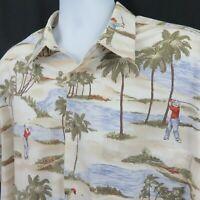 Golf Beach Palm Tree Mens XXL 2XL Hawaiian Aloha Shirt Campia Moda 100% Cotton
