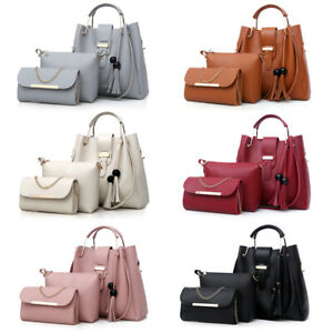 3Pcs Set Women Faux Leather Handbag Shoulder Bag Crossbody Tote Messenger Purse