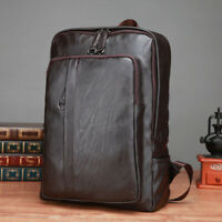 Mens Vintage Genuine Leather Waterproof Backpack Large Laptop Travel Casual Bag