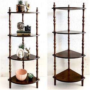 Vtg Wood 4 Tier Corner Shelf Tall Stand Knick Knack Plant Curio Figurine Spindle