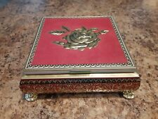 Vtg Red w/ Rose Blue Bird Confectionery Limited  Hunnington Halesowen Tin Box