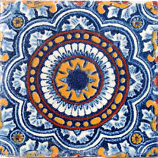 C#055) 9 MEXICAN TILES CERAMIC HAND MADE SPANISH INFLUENCE TALAVERA MOSAIC ART