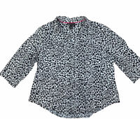 Lane Bryant Womens Plus 22 Blouse Shirt Top Black White Leopard Animal Print
