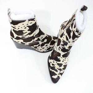 Women's Matisse Essentials Wedge Boots Black/White Spot Cowhair Size 6M NWB