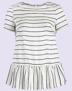 NEW Threads Plus Size Nautical Stripe Short sleeve Peplum Top Sizes UK 18 to 26