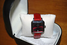 VISAGE RED croc embossed Real LEATHER strap CHRONO DATE stainless Watch NEW $60