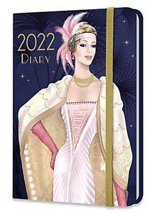 2022 Diary Art Deco Claire Coxon A6 WTV Elastic Closure Stationery Gift Xmas