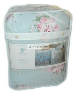 SIMPLY SHABBY CHIC Bella Blue Floral Roses TWIN COMFORTER SET PINK COTTON RACHEL