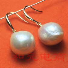 Natural gorgeous natural 13-14MM  baroque south sea pearl earrings DIY Loose