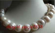 Real 10-11mm Natural White Freshwater Cultured Pearl Necklace 20'' AAA++