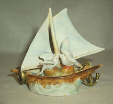 Antique SAILBOAT w/Doves & Anchor On Water Stamped GERMANY #5827 Bisque or Matt