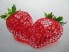 Watercolor Painting Sweet Strawberry Harvest Farm ACEO Art '