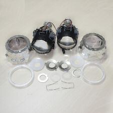 """2x 2.5"""" HID Bi-xenon Projector len Kit H1 Bulb Shroud with Angel Halo groove"""