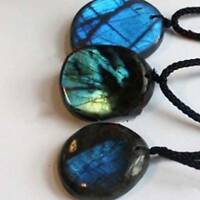 Natural Labradorite Pendant Natural Crystal Pendant Necklace Healing  Stone W