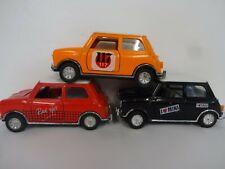3 x sunstar ss1002 mini black,orange,red cooper pull back model cars