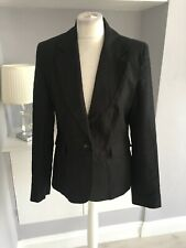 Next Black Linen Single Breasted Blazer Jacket Size 12