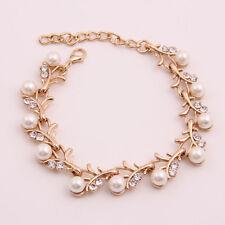 Gold Plated Wedding Bracelet Pearl Crystal Rhinestone Bridal Bangle Jewellery
