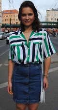 Maria Bellesi Bluse gestreift Schulterpolster 90er True VINTAGE 90s Fashion