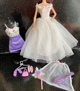 Barbie Fashion Doll Vintage Wedding Dress Outfit Clothes Accessories Bundle Lot