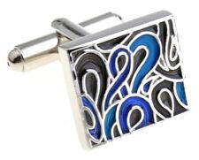 Cufflinks.Direct New Hard wearing Silver & Blue Swirl Enamel Cufflinks