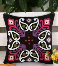Moroccan Embroidered Cushion Cover. Black, pink, purple, white, green, luxury