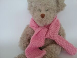 Teddy Bear Clothes, 'Lovely' Pink Hand Knitted Scarf for bears, dolls, toys