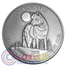 2011 1oz $5 Canadian Wildlife Series Silver Timber Wolf Antique Finish Coin