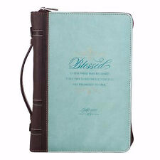 Bible Cover-Classic LuxLeather-Blessed-Medium-Light Blue
