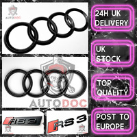 Audi Rs3 Gloss Black SET KIT of Front Rings Badge Grille Boot Lid Trunk Emblem