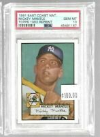 Mickey Mantle 1991 East Coast National Topps 1952 PSA 10