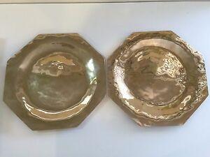 "Rare Vintage Pair of Solid Brass Octagonal Dinner Plates, 13"" Diameter"