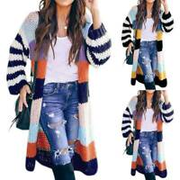 Womens Knitted Oversized Cardigan Sweater Duster Long Sleeve Casual Coat Jacket
