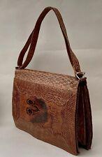 Rustic Snake Skin Vintage 1970s Tan Convertable Handbag Shoulder Bag Suede Lined