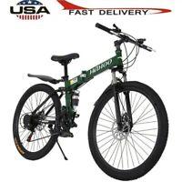 26 inch Full Suspension Mountain Bike 21 Speed Folding Bicycle Non-slip Bike
