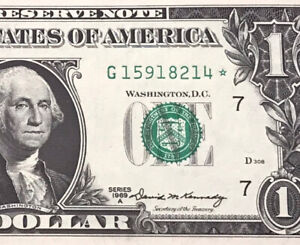 Wow STAR NOTE 1969-A $1 DOLLAR BILL ( CHICAGO ) UNCIRCULATED