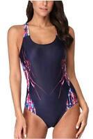 beautyin Women's One Piece Athletic Racerback Bathing, Print/Navy, Size Large U8