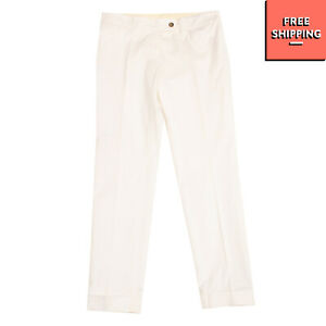RRP €120 GOLD CASE Tailored Trousers Size 42 Stretch Flat Front Made in Italy